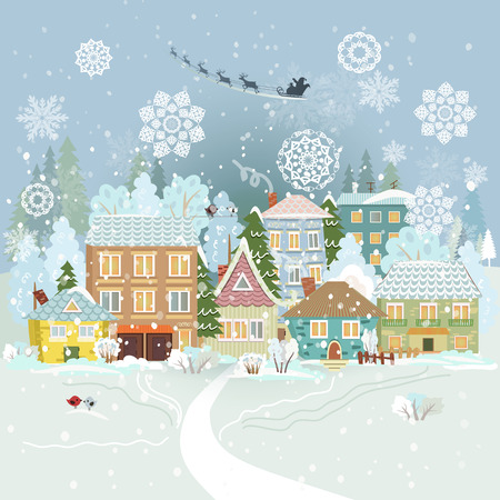 Cute winter cityscape. Merry Christmas.