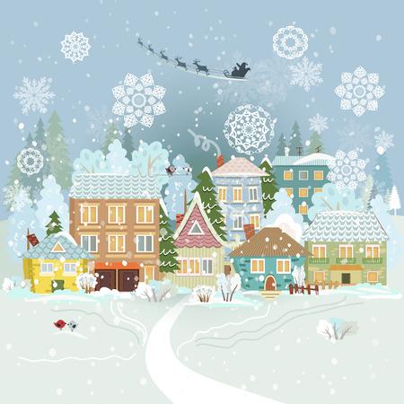 christmas winter: Cute winter cityscape. Merry Christmas.