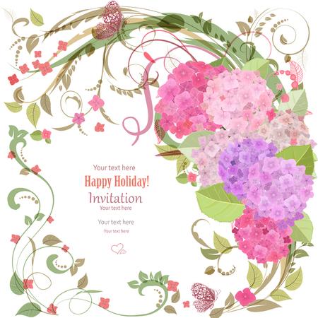 borde de flores: tarjeta de invitación elegante con hermosas flores para su diseño Vectores