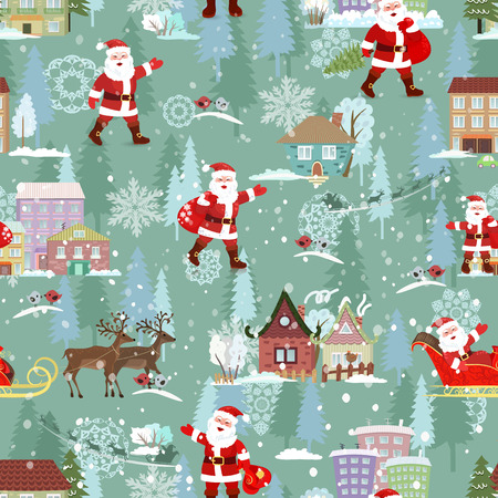 seamless texture with christmas city landscape. Santa Claus walking with sack of gifts. Illustration