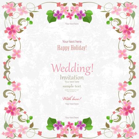 Trouwkaart met bloemen voor uw ontwerp. Romantisch kader