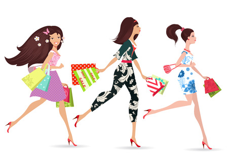 lady shopping: Fashion ladies walking with shopping Illustration