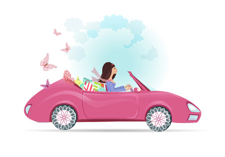 female driver: Car woman in pink convertible with shopping bags Illustration
