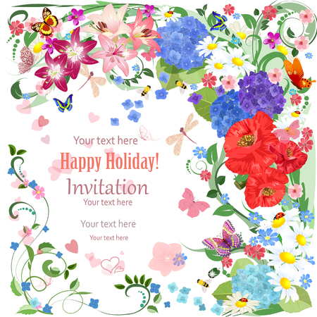 lovely invitation card with beautiful flowers and butterfly for your design  イラスト・ベクター素材