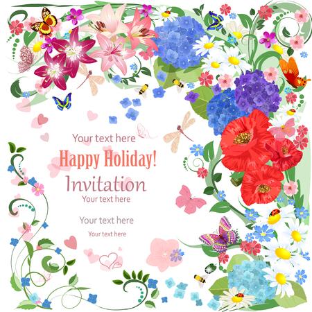 borde de flores: tarjeta de invitación preciosa con hermosas flores y mariposas para su diseño