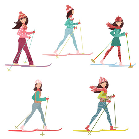skier: happy girls on cross country skiing
