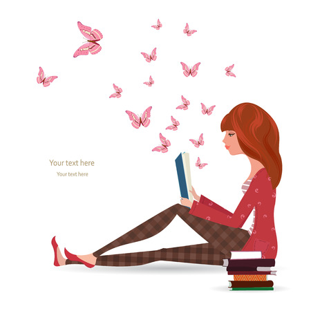 kids reading: Cute girl is reading a book Illustration