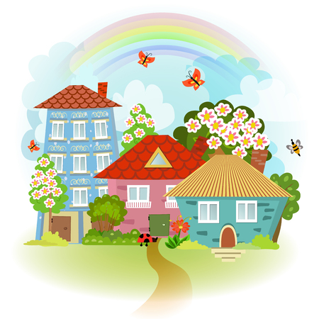 districts: spring cute cityscape with flowering tree