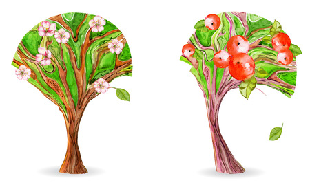 hand painted: collection of art trees. flowering apple Illustration