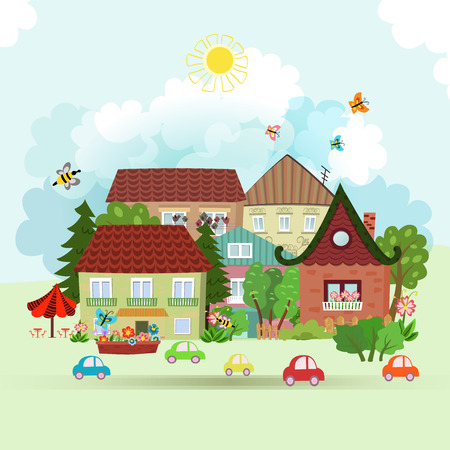 residential neighborhood: Cute Summer cityscape Illustration