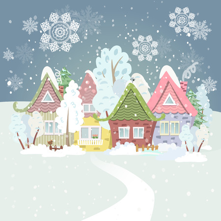 winter season: Cute winter cityscape