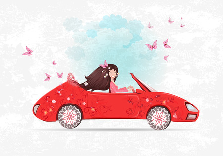 beautiful girl is driving car. the art floral red cabriolet with flower background