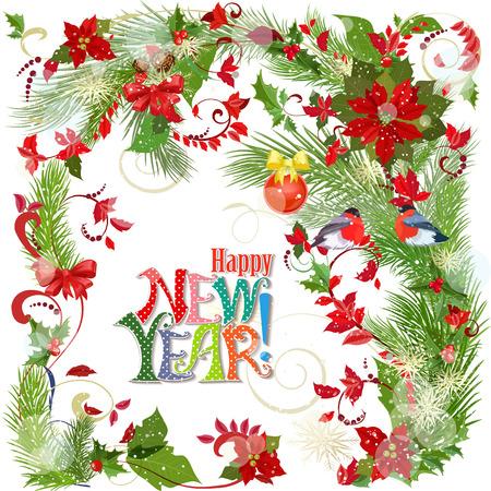 Kleurrijke wenskaart met winter patroon en vogels voor uw ontwerp. Gelukkig nieuwjaar. Stock Illustratie