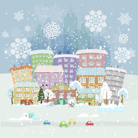 city life: winter city life Illustration