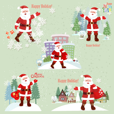 Collection of Santa Claus. Santa Claus in the city. Merry Christmas. New Year.
