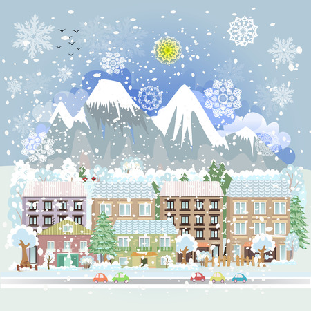 winter holiday: winter city scenery