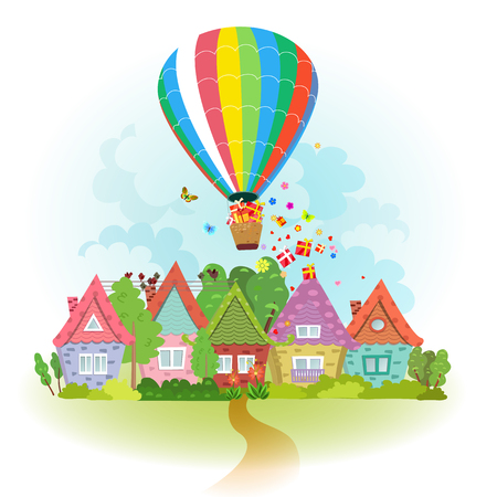 residential neighborhood: hot air balloon over the city with gifts