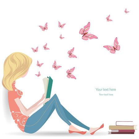 lectura: linda chica está leyendo un libro dulce Vectores