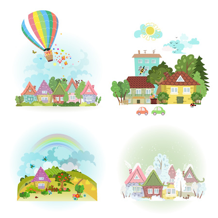 spring summer: lovely set of cute cityscape in different times of year. collection four season of towns Illustration