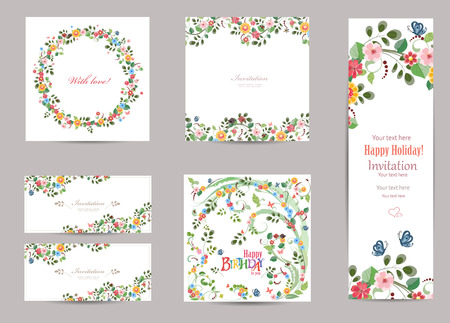 collectie wenskaarten met leuke flora voor uw ontwerp Stock Illustratie