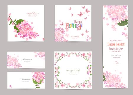 bordes decorativos: colección de tarjetas de felicitación con una flor de color lila para su diseño.