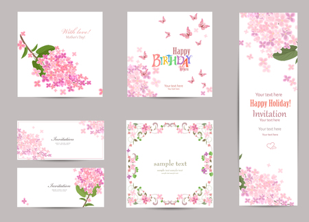 collection of greeting cards with a blossom lilac for your design. Vettoriali