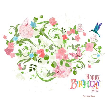 invitation card with a lovely floral ornament for your design. happy birthday