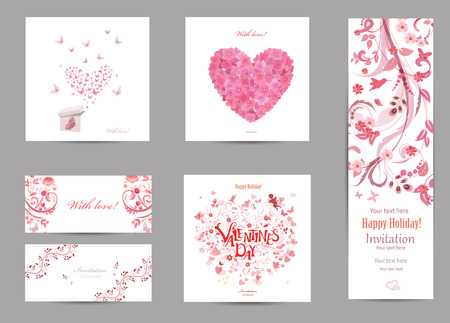 text box: collection romantic invitation cards with love . butterflies are flying for your design.