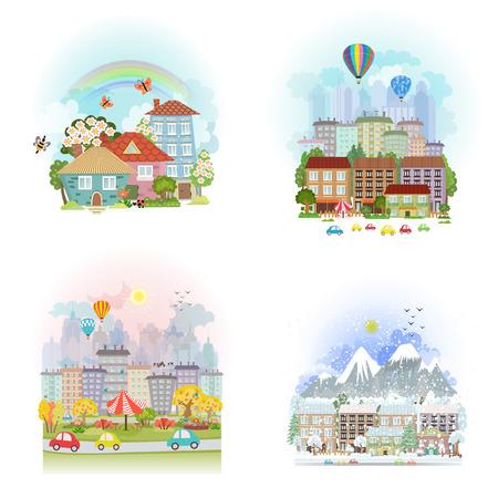 belles cartes de consigne de paysage urbain mignon. Paysage urbain de quatre saisons