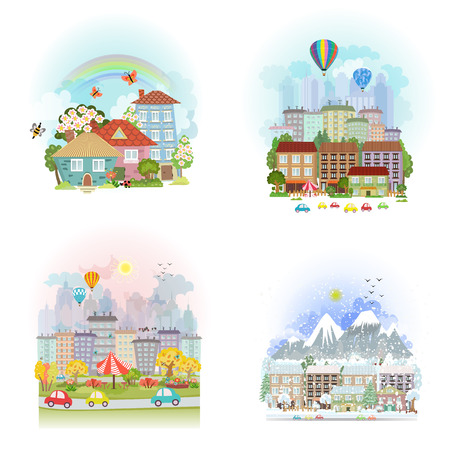 flor caricatura: tarjetas encantador del conjunto de paisaje urbano lindo. paisaje urbano de cuatro estaciones Vectores