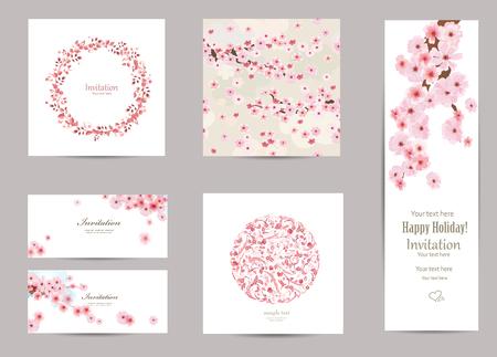 cerezos en flor: colección de tarjetas de felicitación con una flor de sakura para su diseño. textura transparente con estampado de flores japonés Vectores