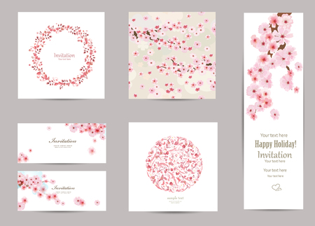 spring season: collection of greeting cards with a blossom sakura for your design. seamless texture with japanese floral pattern