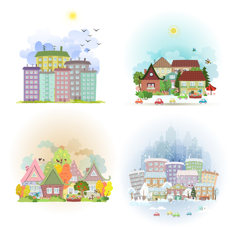 spring summer: collection cute cards with sunny cityscape in different times of year. four season in town Illustration