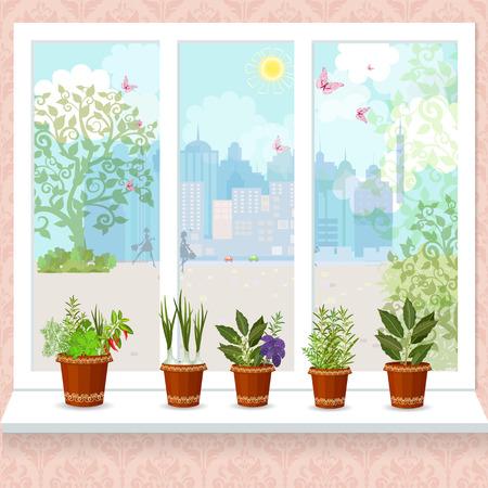hierbas en macetas de flores que crecen en un alféizar de la ventana. la soleada ciudad con las mariposas de la ventana Ilustración de vector