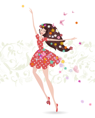Happy girl with flowers on her head. greeting card for your design