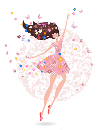Happy teenage girl with flowers on her head with butterfly. greeting card for your design