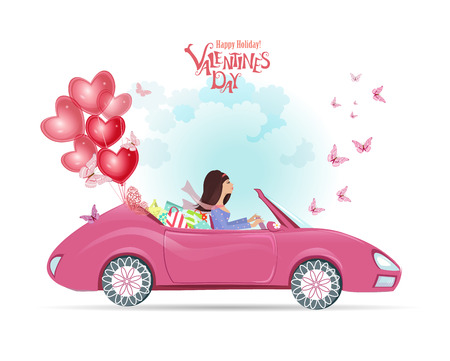 happy woman: fashion young woman in a car with gifts and red balloons. happy valentines day