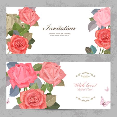 tarjetas de invitación de la vendimia con hermosas rosas con amor para su diseño