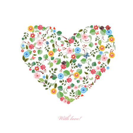 cute heart with birds and butterflies for your design. happy valentines day Vectores