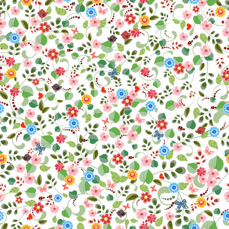 small plant: pretty seamless texture with tiny flowers. Illustration