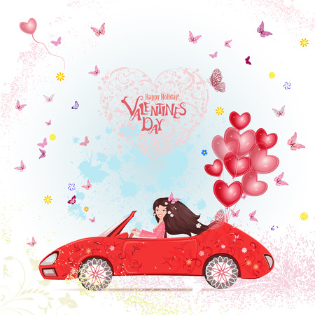 happy woman: happy young woman in a car with red heart air balloons. happy valentines day