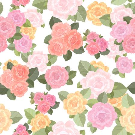 crecimiento planta: Textura inconsútil de la vendimia con las rosas