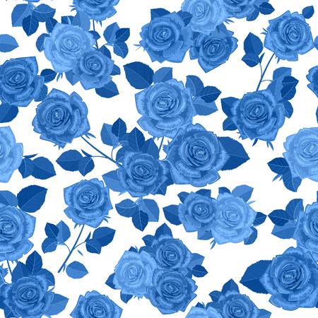 zwart-wit naadloze textuur met blauwe rozen