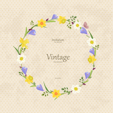 daffodil: vintage card with round frame of spring flowers