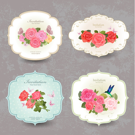 vintage rose: collection retro label with lovely roses. Illustration