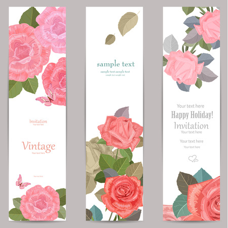 invitation cards: collection vertical banners with roses for your design.