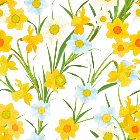 seamless texture: seamless texture with blossom of daffodils Illustration