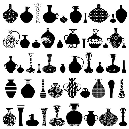 collection of handmade vases with ethnic ornament for your design