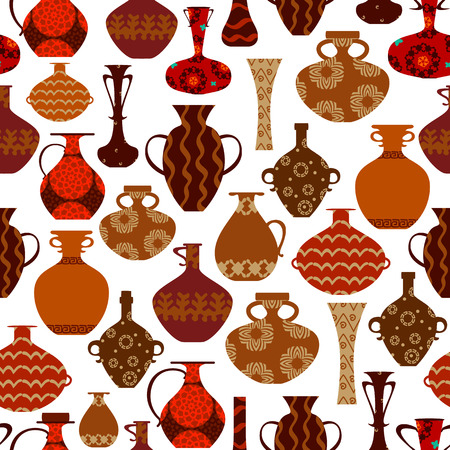 vases: seamless texture with ethnic vases