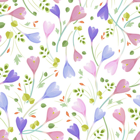 the petal: cute seamless texture with crocuses Illustration